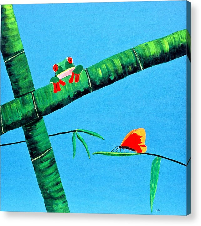 Caribbean Acrylic Print featuring the painting Forest Feast by Sula Chance