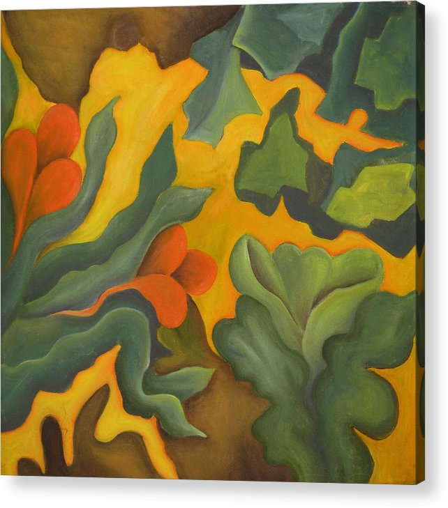 Abstract Yellow Orange And Green Acrylic Print featuring the painting Primal Spring by Ani Magai