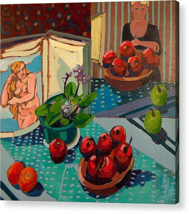 Still Life Apples And Titian Painting Acrylic Print featuring the painting Titian Still Life by Doris Lane Grey