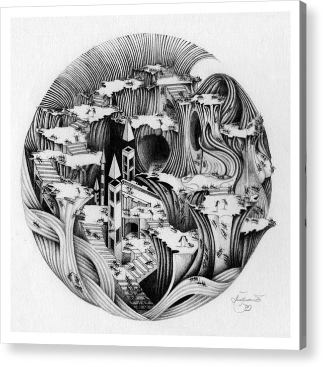 Surrealism Acrylic Print featuring the drawing Untitled by Aziz Awang