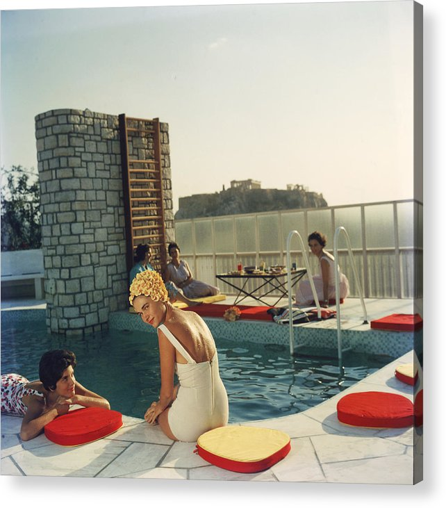 Looking Over Shoulder Acrylic Print featuring the photograph Penthouse Pool by Slim Aarons