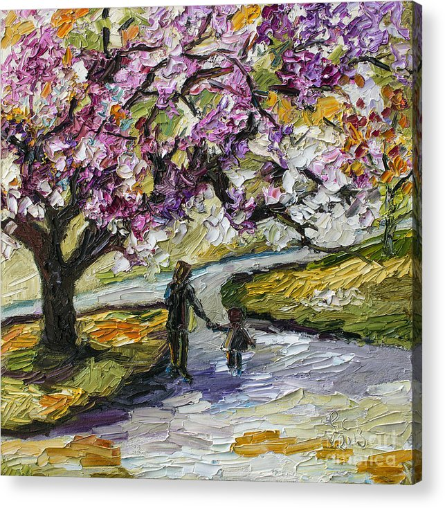 Trees Acrylic Print featuring the painting Cherry Blossom Tree Walk In The Park by Ginette Callaway