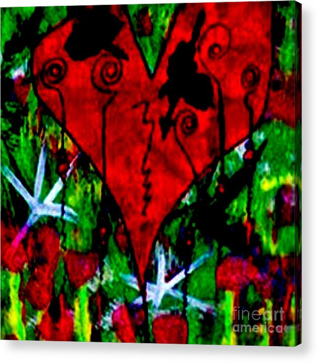 Oh My Pink Heart Acrylic Print featuring the painting Oh My Pink Heart by Donna Daugherty