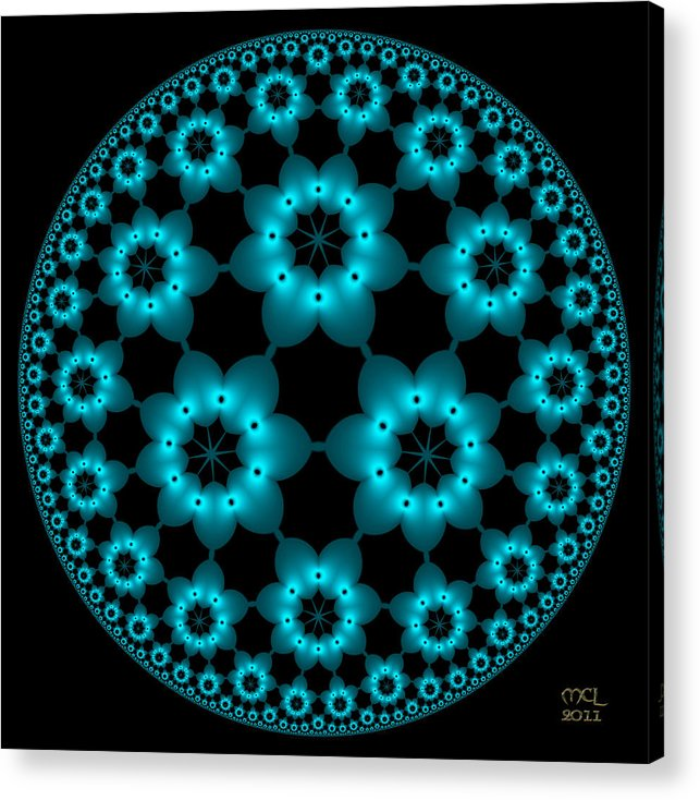 Computer Acrylic Print featuring the digital art Electric Turquoise Flowers by Manny Lorenzo