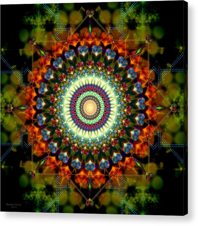 Mandala Acrylic Print featuring the digital art Mandala Of Loves Journey by Stephen Lucas