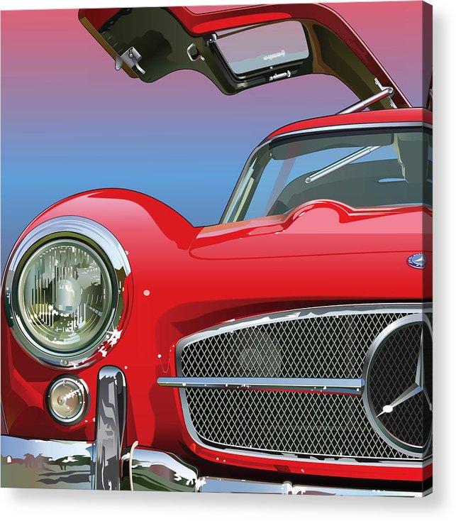 Automotive Art Acrylic Print featuring the digital art Mercedes 300 Sl Gullwing Detail by Alain Jamar