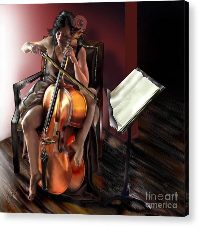 Cello Acrylic Print featuring the painting Mi Chica - Solace In The Unseen by Reggie Duffie