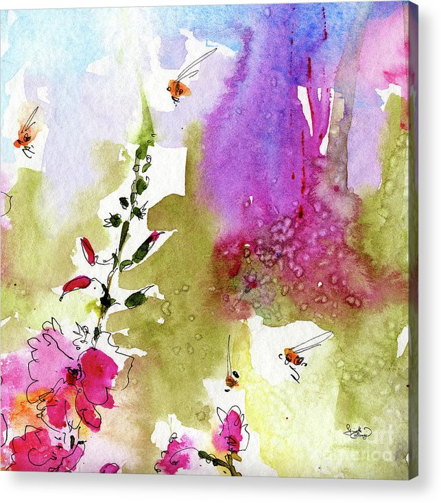 Decorative Acrylic Print featuring the painting Pink Lavatera Floral Painting 1 by Ginette Callaway