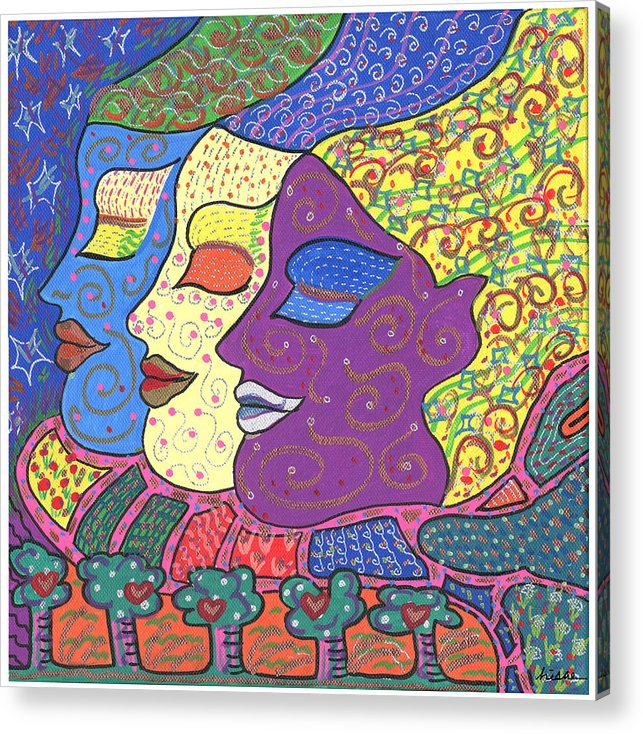 Bright Acrylic Print featuring the painting Three Maidens by Sharon Nishihara