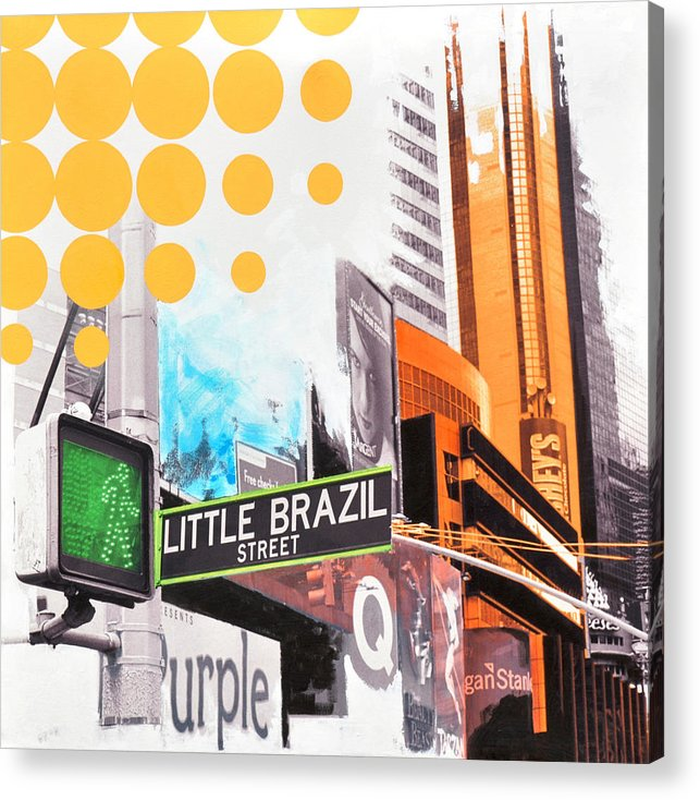 Ny Acrylic Print featuring the painting Times Square Little Brazil by Jean Pierre Rousselet