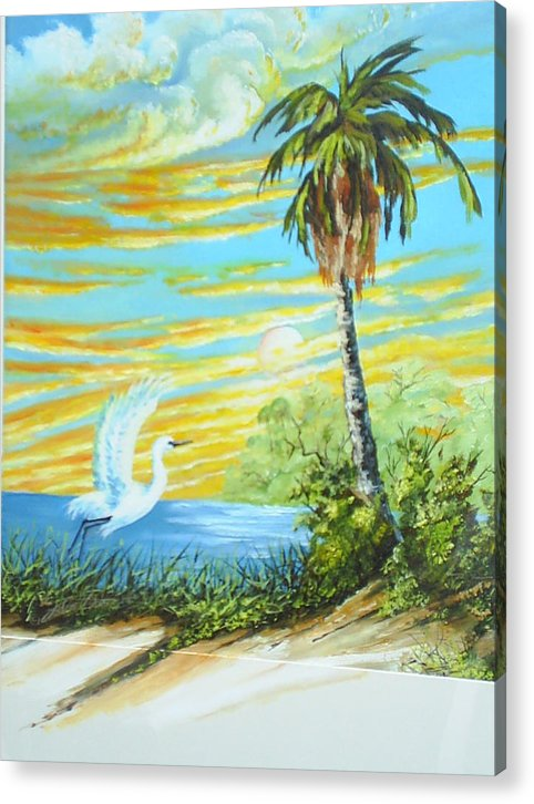Landscape Acrylic Print featuring the painting East Lake by Dennis Vebert