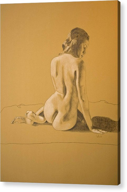 Black Female Acrylic Print featuring the drawing Female Nude Five by George Wade