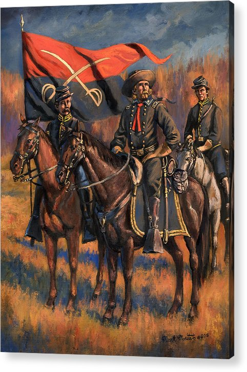 Civil War Acrylic Print featuring the painting George Armstrong Custer by Mark Maritato