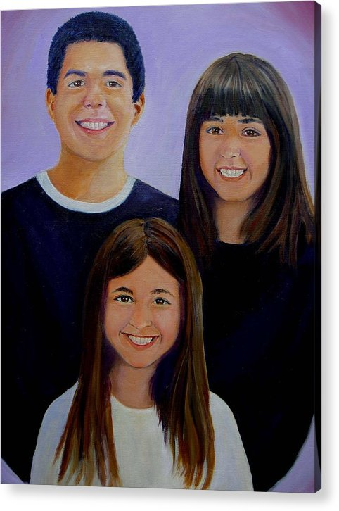 Portrait Acrylic Print featuring the painting Mann Family by George Markiewicz