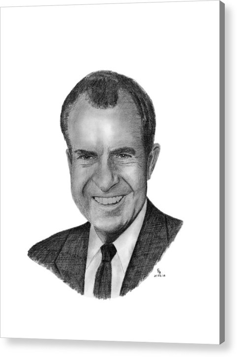 President Acrylic Print featuring the drawing President Richard Nixon by Charles Vogan