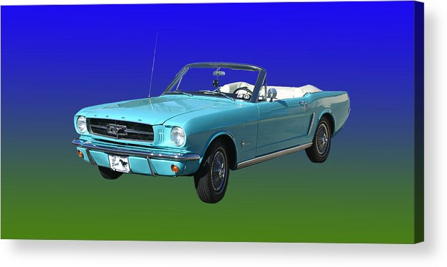 1965 Mustang Convertible Acrylic Print featuring the photograph 1965 Mustang Convertible by Jack Pumphrey