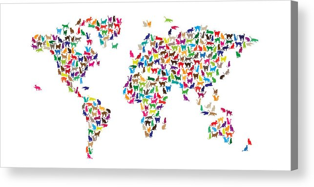 World Map Acrylic Print featuring the digital art Cats Map Of The World Map 3 by Michael Tompsett