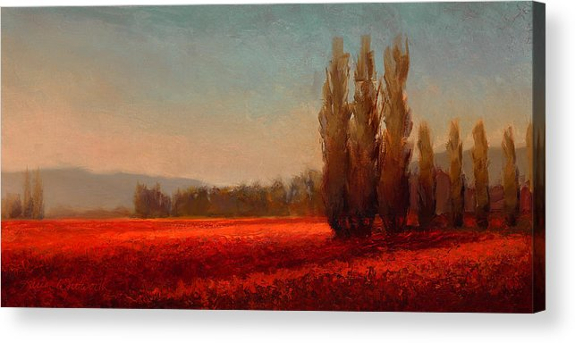 Skagit Acrylic Print featuring the painting Across The Tulip Field - Horizontal Landscape by Karen Whitworth