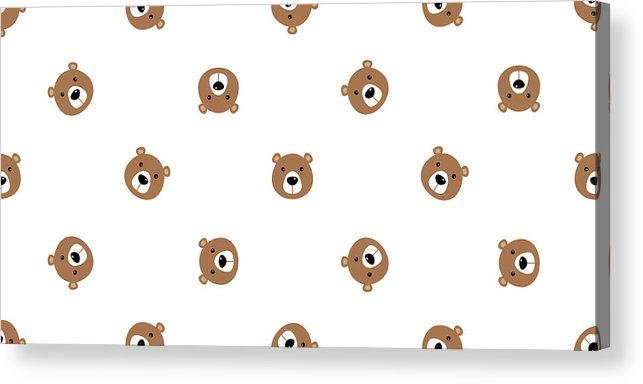 Panda Acrylic Print featuring the drawing Bear Seamless Vector Pattern Polar Bear Panda Teddy Isolated Background