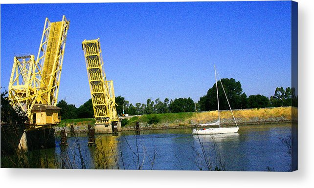 Sacramento River Delta Acrylic Print featuring the photograph Bridge Up 4 Safe Passage by Joseph Coulombe