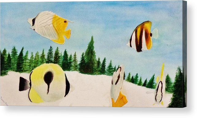 Butterfly Acrylic Print featuring the painting Butterfly Fish by Savanna Paine