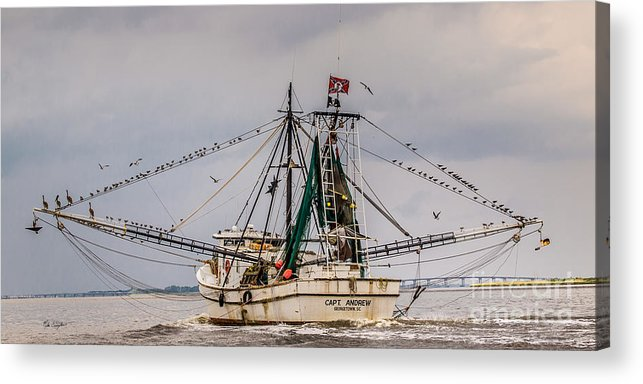 Charleston Boat Acrylic Print featuring the photograph Captain Andrew by Mike Covington