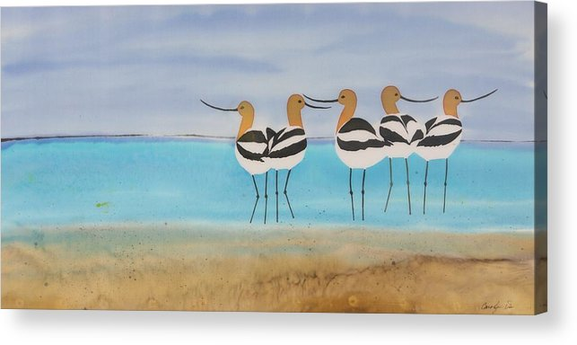 Avocets Acrylic Print featuring the tapestry - textile Chance Encounter At The Beach by Carolyn Doe