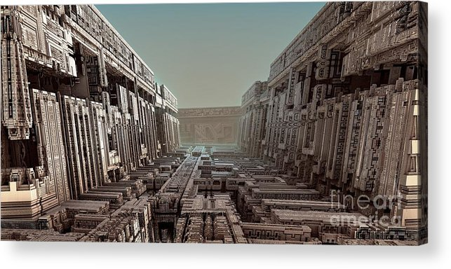 Fractal Art Acrylic Print featuring the digital art Dream Of A City 2 by Bernard MICHEL