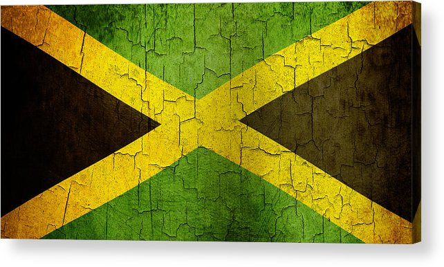 Aged Acrylic Print featuring the digital art Grunge Jamaica Flag by Steve Ball