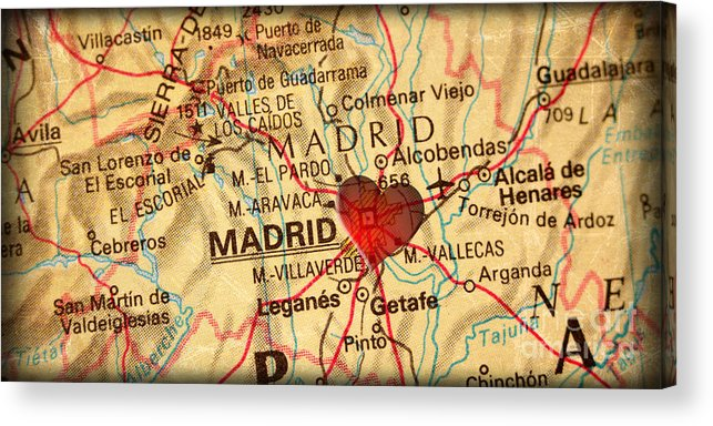 Map Of Madrid Spain Espana Europe In A Antique Distressed Vintag ...