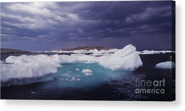 North America Acrylic Print featuring the photograph Panorama Ice Floes In A Stormy Sea Wager Bay Canada by Dave Welling