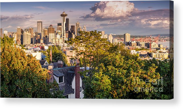 Downtown Seattle Acrylic Print featuring the photograph Panorama Of Downtown Seattle And Space Needle From Kerry Park - Seattle Washington State by Silvio Ligutti