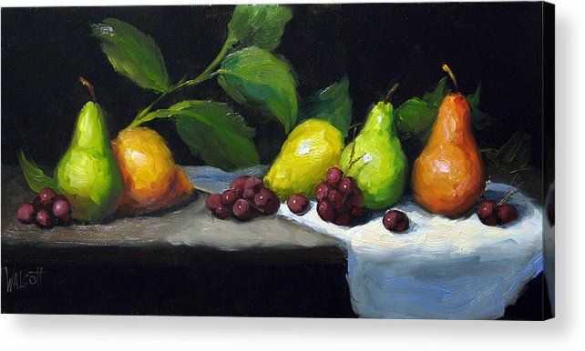 Pears Acrylic Print featuring the painting Pear Row by Jason Walcott
