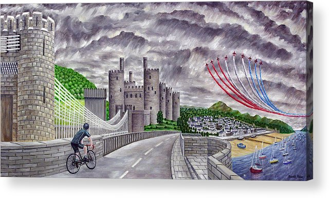 Red Arrows Acrylic Print featuring the painting Red Arrows At 1000 Feet Over Conway Castle by Ronald Haber