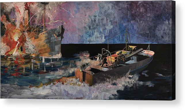 Ship Acrylic Print featuring the painting Santa Eliza Martyred by Ray Agius