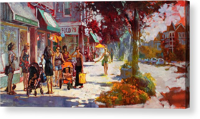 Landscape Acrylic Print featuring the painting Small Talk In Elmwood Ave by Ylli Haruni