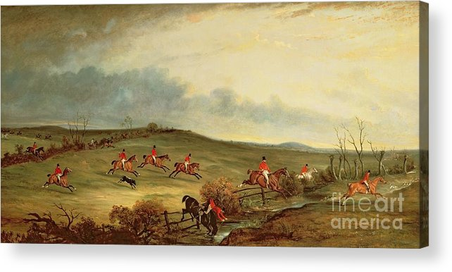 Fox Hunting Acrylic Print featuring the painting The Quorn In Full Cry Near Tiptoe Hill by John E Ferneley