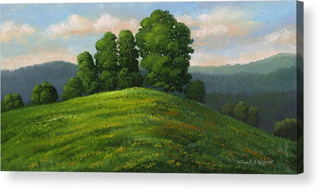 Landscape Acrylic Print featuring the painting Toboggan Hill by Frank Wilson