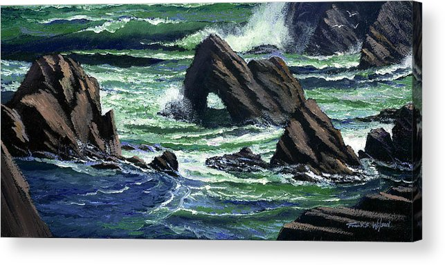 Surf Acrylic Print featuring the painting View From The Bluffs by Frank Wilson