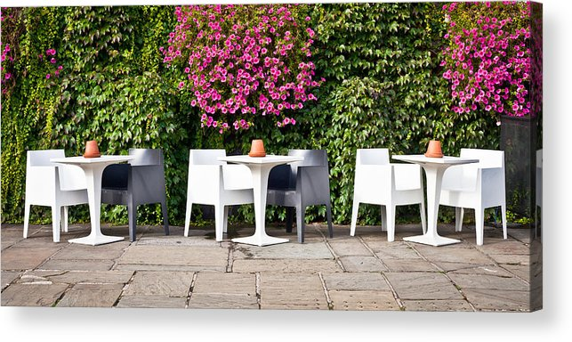 Bright Acrylic Print featuring the photograph Outdoor Cafe by Tom Gowanlock