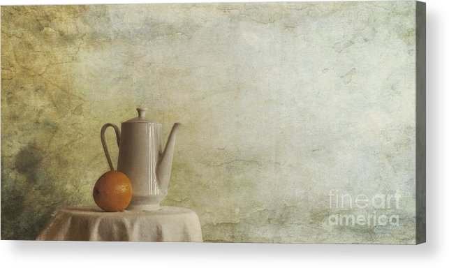 Table Acrylic Print featuring the photograph A Jugful Tea And A Orange by Priska Wettstein
