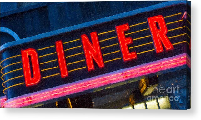 Clarence Holmes Acrylic Print featuring the photograph Diner Sign In Neon by Clarence Holmes