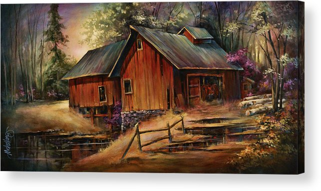 Landscape Acrylic Print featuring the painting North Country by Michael Lang