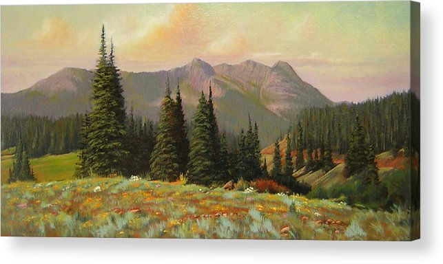 Landscape Acrylic Print featuring the painting 060815-1224 Late Summer Flowers by Kenneth Shanika