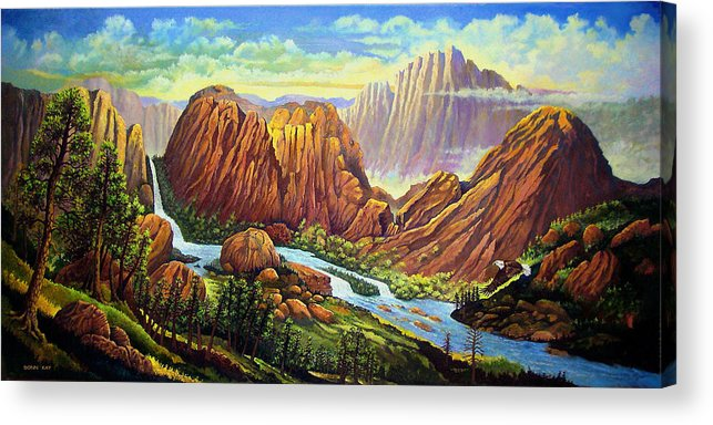 Mountains Waterfalls Rocks Southwest Landscapes Eagles Acrylic Print featuring the painting Castle Rock Valley by Donn Kay