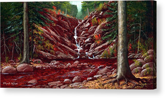 Frank Wilson Acrylic Print featuring the painting Deepwoods Cascade by Frank Wilson