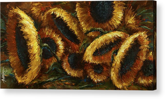 Sunflowers Acrylic Print featuring the painting Sunflowers by Michael Lang