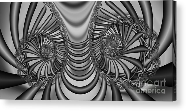 Mathematical Abstract Acrylic Print featuring the digital art 2x1 Abstract 436 Bw by Rolf Bertram