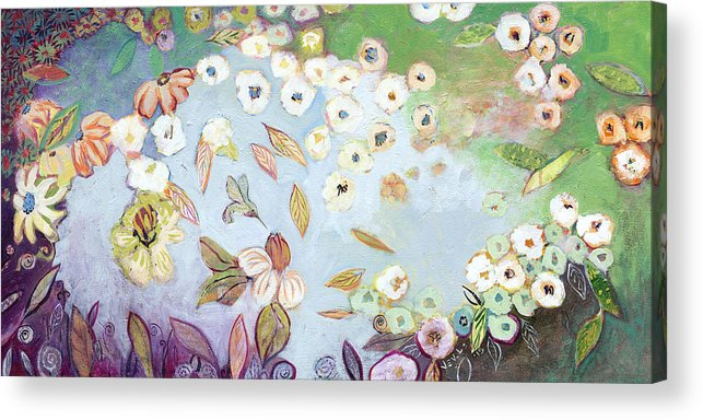 Hummingbird Acrylic Print featuring the painting A Hidden Lagoon by Jennifer Lommers