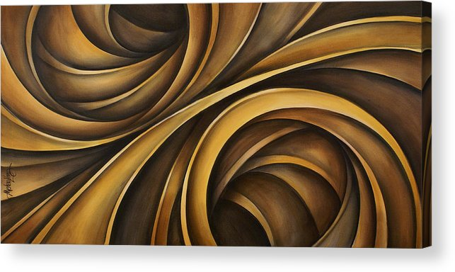 Earth Tones Brown Ribbon Abstract Flowing Motion Acrylic Print featuring the painting Abstract Design 34 by Michael Lang